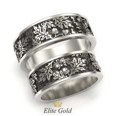 кольца с ветвями дуба в белом золоте с чернением