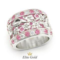 кольцо с цветами, розовой эмалью, розовыми и белыми камнями