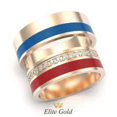 кольца Agrata с красной и синей эмалью