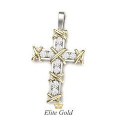 крест Ten Stones в белом и лимонном золоте