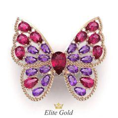 кольцо-бабочка с разноцветными камнями