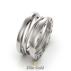 Кольцо Zaha XL в стиле бренда в белом золоте 585
