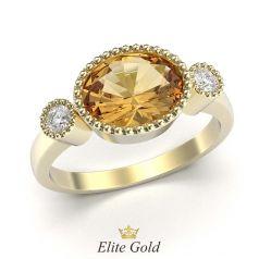 кольцо Elletra с крупным оранжевым камнем в центреия