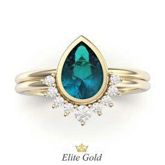 Soraya Bridal Set в лимонном золоте с топазом London Blue в центре