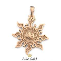 золотой кулон оберег в виде солнца