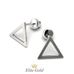 Золотые женские серьги в виде фигуры треугольника