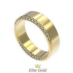 золотое обручальное кольцо с белыми камнями