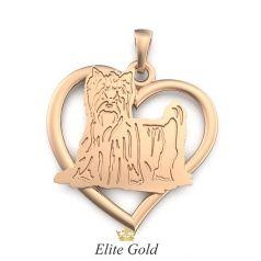 Золотая подвеска с изображением собачки в сердце