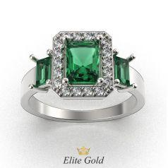 кольцо в белом золоте с изумрудами