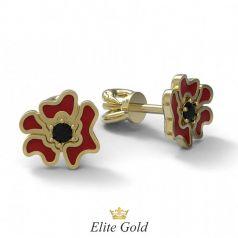 Золотые женские серьги-гвоздики Красный мак