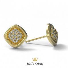 Золотые женские серьги пусеты в камнях