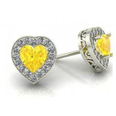 Золотые женские серьги пусеты в камнях в виде сердца