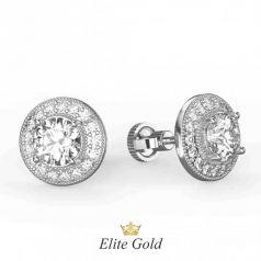 Золотые серьги-гвоздики усыпанные камнями