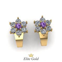 Золотые женские серьги в форме цветка