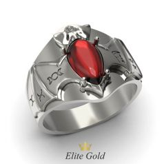 Золотое мужское кольцо Batman с силуэтом летучей мыши