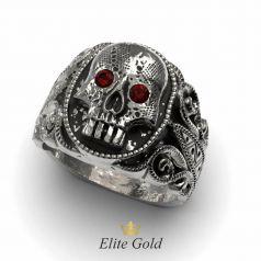 Мужское кольцо Skull в белом золоте с чернением