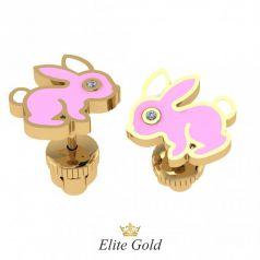 Золотые серьги пусеты с изображением кролика