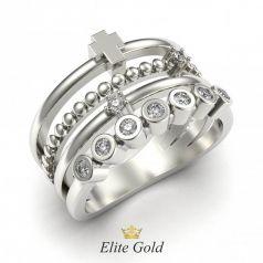 Золотое составное кольцо Questa с дорожкой камней