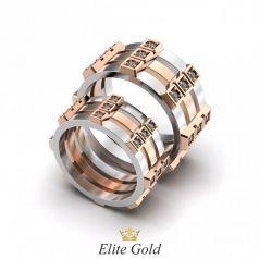 Золотые геометрические обручальные кольца Nayana с камнями