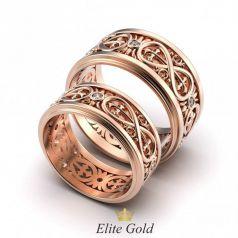 Золотые обручальные кольца Liona с камнями и знаком бесконечность