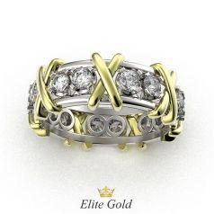 Авторское кольцо 16 Stones в белом и лимонном золоте