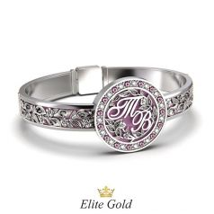 браслет Theodora в белом золоте с розовой эмалью