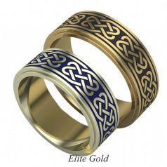 Золотые обручальные кольца Adalyn с орнаментом