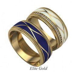 Золотые обручальные кольца Alara с орнаментом и дорожкой камней