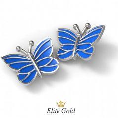 Золотые женские серьги Blue butterfly