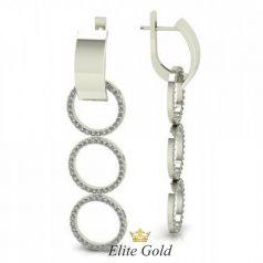 Золотые длинные серьги-висюльки Три кольца с английской застёжкой