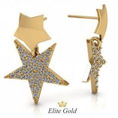 Золотые серьги пусеты в виде звёзд
