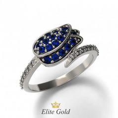 Золотое кольцо Tulip усыпанное камнями