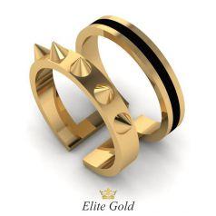 Золотое двойное кольцо с шипами