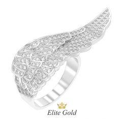 Золотое кольцо Angel wing усыпанное камнями