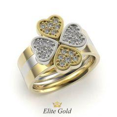 Золотое женское кольцо с сердцами в камнях