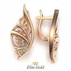 Золотые серьги Крылья бабочки