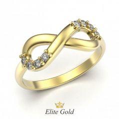 Золотое женское кольцо Бесконечность с камнями