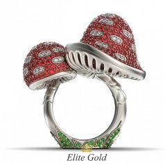 Золотое коктейльное кольцо Магия природы