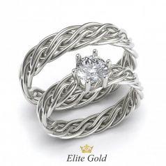 Золотые обручальные кольца Taara с плетением и камнем