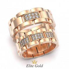 Золотые обручальные кольца Sara с камнями