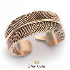 Золотое фантазийное кольцо в виде пера