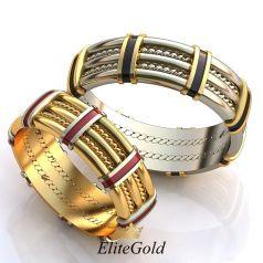Авторские широкие обручальные кольца Salute с ювелирной эмалью