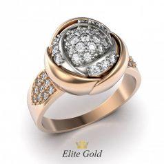 Золотое женское кольцо Isabella в виде цветка усыпанного камнями
