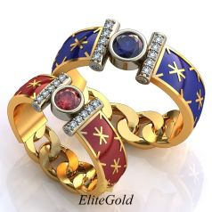 Роскошные обручальные кольца Diletto с ювелирной эмалью и подвижными звеньями цепи