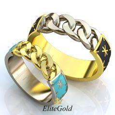 Обручальные кольца Diletto с ювелирной эмалью, без камней