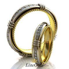 Сдвоенные обручальные кольца Gallery of Miracles с камнями по ободку