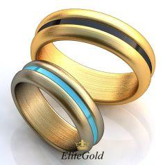 Лаконичные обручальные кольца Raya с полоской эмали в центре