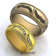Авторские обручальные кольца Fabiosa с переплетением и камнями