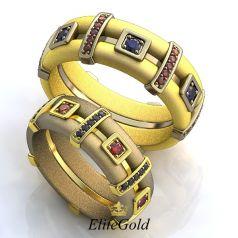 Обручальные кольца Avance Xtra в комбинированном золоте c дополнительными камнями