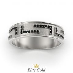 кольцо Verranо с черными камнями, в белом золоте с матированием